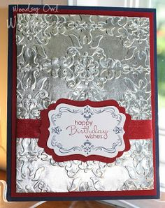 : Embossed Aluminum Foil using the Vintage Wallpaper EF, Four Frames and Petite Pairs stamp setts