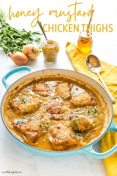 These Honey Mustard Chicken Thighs are roasted to juicy perfection in a sweet and tangy honey mustard sauce - one pan and ready in under 45 minutes! Recipe from thebusybaker.ca! #honeymustardchickenthighs #chicken #roastchicken #honeymustard #sweetandsalty #dinner #easymaindish #meal