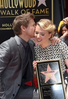 Jeremy Renner and Scarlett Johansson at the unveiling of Johansson's Star on the Hollywood Walk of Fame, May 2nd