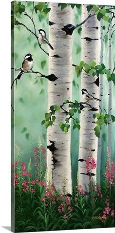 'Chickadees In The Birch Trees' by Julie Peterson Painting Print Best Picture For Tree Art For Your Taste You are looking for something, and it is going to Birch Tree Art, Birch Trees Painting, Paintings Of Trees, Pine Tree Art, Painted Trees, Painting Prints, Painting & Drawing, Drawing Drawing, Painting Canvas