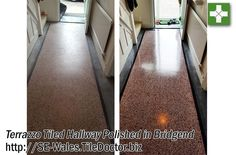 Dirty Terrazzo Floor Deep Cleaned, Burnished and Sealed in Bridgend - South East Wales Tile Doctor Types Of Flooring Materials, Tiled Hallway, Natural Stone Flooring, Terrazzo Flooring, Deep Cleaning, Venetian, Granite, Natural Stones, 1920s