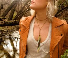 long chain necklace with beaded fringe