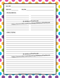 EDITABLE Recipe Binder Printables Recipe Sheet Recipe Card Recipes ...