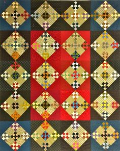 Beautiful 9-patch swap quilt by Barb Vedder.