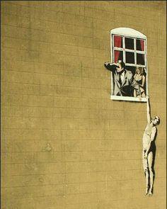 Banksy graffiti art hanging out the window iron on t shirt transfer or sticker Banksy Graffiti, Street Art Banksy, Banksy Prints, Graffiti Artwork, Bansky, Graffiti Painting, Canvas Artwork, Art Du Monde, Urbane Kunst