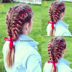 A 5 strand feathered braid with ribbon