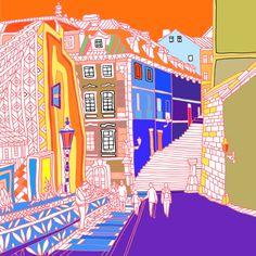 Color and line art Prague below the Castle