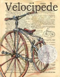 Velocipede Antique Bicycle Drawing on edition dictionary - flying shoes art studio Book Page Art, Art Pages, Bicycle Drawing, Antique Bicycles, Newspaper Art, Drawing Sketches, Drawings, Dictionary Art, Printed Pages