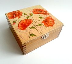 Decoupage wooden tea box gift idea patinated antiqued box romantic style