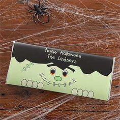 Personalized Halloween Candy Bar Wrappers - Frankenstein - Halloween Gifts