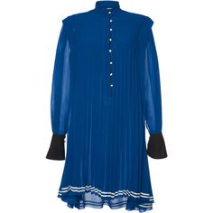 Philosophy di Lorenzo Serafini Georgette Pleated Mini Dress (52.094.210 VND) ❤ liked on Polyvore featuring dresses, blue, blue dress, pleated dress, blue button dress, button dress and blue collared dress