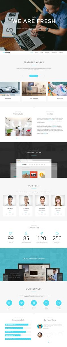 'Solido' is a great looking one page WordPress theme from Envato Elite authors, Jelly Themes. While geared towards digital agencies, the overall design is clean, spacious and slick - which should make this theme work well for a range of purposes eg. personal portfolio, landing page, announcement. The responsive theme includes a variety of 8 colour options, a visual page builder, full screen video background option and of course offers full support from the Jelly Themes team.