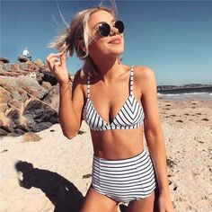 Stylish Striped High Waisted Swimsuit