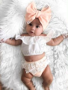 This pretty babe is stealing our hearts with her adorable style & those chunky thighs We adore the peach lace bummies she is wearing! Available in shop sizes NB to Cute Baby Girl Outfits, Cute Baby Clothes, Toddler Outfits, Kids Outfits, Baby Kind, Baby Love, Cute Baby Pictures, Boho Baby, Baby Girl Fashion