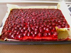 Cherry - sour cream - sheet cake (recipe with picture) by Cake Recipes With Pictures, Food Pictures, Low Fat Cake, Types Of Pastry, Puff Recipe, Sheet Cake Recipes, Un Cake, Different Cakes, Cream Cake