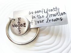 Hand Stamped Personalized Keychain -Go Confidently in the Direction of Your Dreams - Thoreau Quote - Graduation Gift - Mens Gift via Etsy