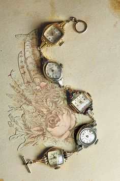 Old watches linked to make a bracelet.  From victorian trading company. $129