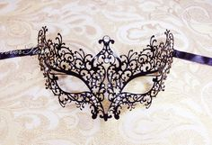 Elegant, Minimal, Luxurious Black Laser Cut Masquerade Mask w/ Diamonds - Costume, Masquerade, Winter Formal, Prom, Wedding, Bridal Shower