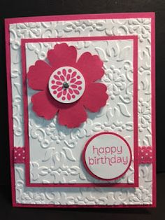 """Mixed Bunch, Made For You (sentiment), Vintage Wallpaper EF, Blossom punch & Circle punches, 1/2"""" Scallop Dots Ribbon (Melon Mambo), Rhinestone"""