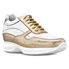 Elevator Sneakers - Upper in white full grain leather with details in golden calfskin, insole in genuine leather, lining in soft goatskin. Hnad Made in Italy. elevator shoes,elevator sneakers,tall shoes