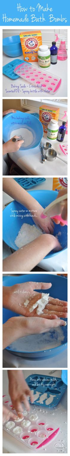 How to make Homemade Bath Bombs 1/2 cup baking soda 1/4 cup citric acid 1 tablespoon massage oil