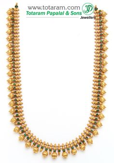 22K Gold Double Side Design Long Necklace (Temple Jewellery) - GN345 - Indian Jewelry Designs from Totaram Jewelers