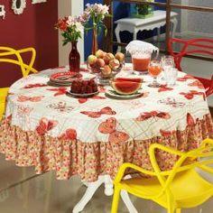 Toalha de Mesa com Barra Aplicada Redonda 180cm - Farfalla Vermelho - Dui Design