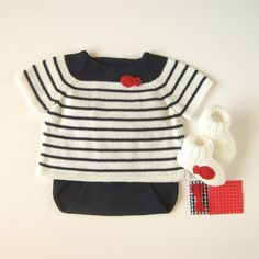 Nautical knit sweater & diaper cover by Tenderblue