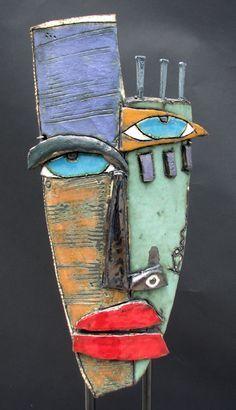 Kimmy Cantrell masks Source by serpilulubay Sculptures Céramiques, Art Sculpture, Metal Art, Wood Art, Kimmy Cantrell, Tableau Pop Art, Ceramic Mask, Cardboard Art, Inspiration Art