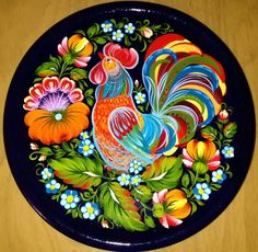 The Cock-a-doodle-doo Wooden Wall Plate Petrikov Painting Hand Painted Lacquer