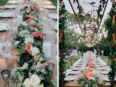 Centre flowers + foliage // Candles // Lightbulbs with foliage //