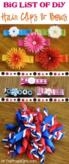 You'll love this BIG List of fun DIY Hair Clips and Bows! They're SO easy to make, and make super-cute gifts, too! DIY Hair Clippies DIY Flower Hair Clips and Headbands How to Make. Ribbon Hair Clips, Hair Ribbons, Diy Hair Bows, Diy Bow, Ribbon Bows, Making Hair Bows, Bow Making, Diy Hair Accessories, Baby Bows