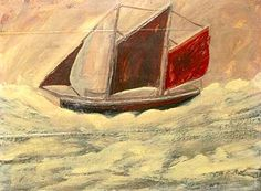 a painting of a sailing boat with red sails. Alfred Wallis, Boat (1930).
