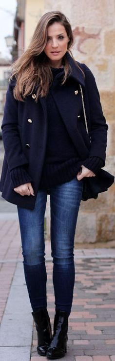#Navy #Coat by LadyAddict / women's casual fashion