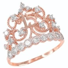 Great The perfect Rose Gold CZ-Studded Crown Sweet 15 Anos Quinceanera Ring Jewelr. - Women's Jewelry and Accessories-Women Fashion Rose Gold Jewelry, Bridal Jewelry, Fine Jewelry, Jewelry Rings, Gold Jewellery, Jewelry Ideas, Sweet 15, Gold Diamond Wedding Band, Ring Set