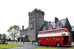 London double decker bus at Kilronan Castle Ireland wedding Car Wedding, Castle Weddings, Double Decker Bus, Ireland Wedding, Second Weddings, Months In A Year, Transportation, Irish, Wedding Photography