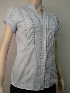 HOT OPTIONS WOMENS BLUE FRILL SHORT SLEEVE BUTTON DOWN LADIES TOP SHIRT