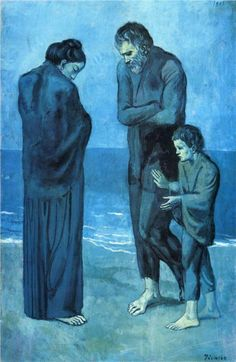 The Tragedy, 1903  Pablo Picasso  Hard to look at it captures the sense of tragedy so fully.