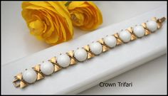 Crown Trifari White milk glass and gold by serendipitytreasure, $33.00