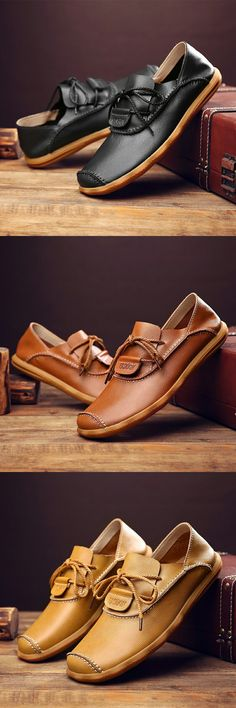 US $28.03 <Click to buy> Prelesty 2018 Luxury Brand Natural Leather Boat Shoes Cow Split Leather Men Flat Shoes Moccasins Men Loafers Driving Shoes Soft