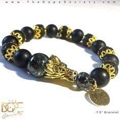 Gold Dragon Bracelet, Men's Lava Bead Bracelet, Dragon Head Beaded Bracelet,10mm #Handmade #BeadedBracelet #BeadBracelet #MensBeadBracelet #WristWear #ArtesianJewelry #MensFashion #Beaded