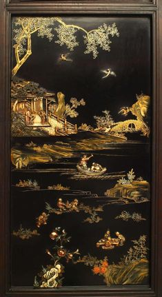 For Sale on 1stdibs - Asian Chinese (Qing dynasty century) four panel polychromed and lacquered screen with carved figures and scenes in a carved relief frame, reverse lacquered