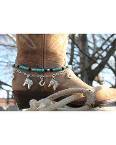 """Boot Candy Lucky Horses contain beautiful Natural Turquoise Howlite beads, Czech Fire Polished Crystals, Silver plated Horse Heads and Silver plated Horse Shoes. Adjustable from 14.25"""" to 15.75"""" fits your cowboy boots only $19.95"""