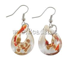Lampwork Jewelry Earring, iron hook, Butterfly, handmade, silver foil http://www.beads.us/product/Handmade-Lampwork-Earrings_p46749.html