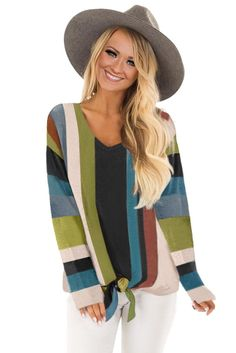 -Multi striped long sleeve top -Relaxed fit in soft stretch knit -V neckline and tie front detail at hem -Perfect casual piece to women¡¯s wardrobe -Long sleeve tops are essential for new season -online shop long sleeve tops chicly for your boutique Long Sleeve Tops, Long Sleeve Shirts, Color Stripes, Long Sleeve Bodysuit, T Shirts For Women, Clothes For Women, Wholesale Clothing, Lady, Sleeves
