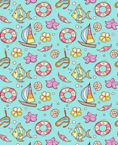 Buy Summer Marine Seamles Pattern by Artness on GraphicRiver. Summer marine seamless pattern with boat, fish and lifebuoy. Zip file contains fully editable vector file and hi. Baby Wallpaper, Pattern Wallpaper, Wallpaper Backgrounds, Lifebuoy, Under The Ocean, Information Graphics, Texture Vector, Boat Design, Vector File