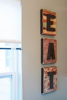 canvases or frames, scrapbook paper, mod podge, cardboard letters and paint. I could definitely do this!