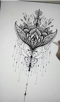 Mandala tattoo Mandalatattoo is part of Moon Flower tattoos Cherry Blossoms - Mandala tattoo Mandalatattoo Bild Tattoos, Leg Tattoos, Body Art Tattoos, Tatoos, Sternum Tattoo, Lace Tattoo, Mandala Tattoo Back, Lotus Tattoo, Flower Tattoo Designs