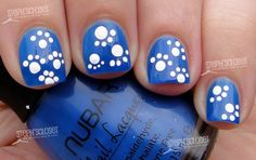 Nail Art Tutorial: Blue and White UK Paw Print Manicure Fancy Nails, Cute Nails, Pretty Nails, Nail Art Diy, Diy Nails, Paw Print Nails, Shellac, Nails Polish, Cute Nail Designs