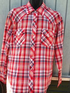 Sears Western Wear Pearl Snap Shirt XL 17-17.5  Red Plaid Vintage Rockabilly #Sears #Western